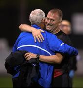 11 August 2020; Former Waterford manager and current Dundalk assistant manager Alan Reynolds with Waterford kitman Michael Walsh following the Extra.ie FAI Cup First Round match between Dundalk and Waterford FC at Oriel Park in Dundalk, Louth. Photo by Stephen McCarthy/Sportsfile