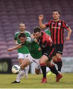 11 August 2020; Cian Murphy of Cork City in action against Joe Gorman of Longford Town during the Extra.ie FAI Cup First Round match between Cork City and Longford Town at Turners Cross in Cork. Photo by Eóin Noonan/Sportsfile