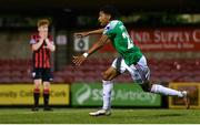 11 August 2020; Ricardo Dinanga of Cork City celebrates after scoring the match winning goal during the Extra.ie FAI Cup  First Round match between Cork City and Longford Town at Turners Cross in Cork. Photo by Eóin Noonan/Sportsfile