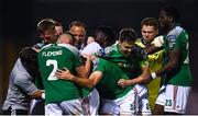 11 August 2020; Ricardo Dinanga of Cork City celebrates with Cork City manager Neale Fenn and team-mates after scoring his side's match winning goal during the Extra.ie FAI Cup First Round match between Cork City and Longford Town at Turners Cross in Cork. Photo by Eóin Noonan/Sportsfile