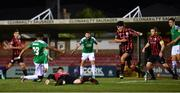 11 August 2020; Ricardo Dinanga of Cork City scores his side's first goal despite the efforts of Joe Gorman of Longford Town during the Extra.ie FAI Cup First Round match between Cork City and Longford Town at Turners Cross in Cork. Photo by Eóin Noonan/Sportsfile
