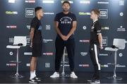 12 August 2020; Zelfa Barrett and Eric Donovan, right, with promoter Eddie Hearn during a press conference at Matchroom Fight Camp in Brentwood, Essex, England, ahead of their IBF Inter-Continental Super Feather Title clash on Friday Night. Photo by Mark Robinson / Matchroom Boxing via Sportsfile