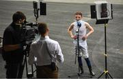 13 August 2020; Jockey Chris Hayes is interviewed for Racing TV after winning on 300/1 horse He Knows No Fear in the Irish Stallion Farms EBF maiden 3 year old plus race at Leopardstown in Dublin. Photo by David Fitzgerald/Sportsfile