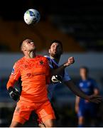 14 August 2020; Waterford goalkeeper Brian Murphy in action against Patrick Hoban of Dundalk during the SSE Airtricity League Premier Division match between Dundalk and Waterford at Oriel Park in Dundalk, Louth. Photo by Stephen McCarthy/Sportsfile