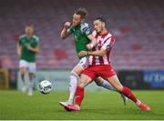 14 August 2020; Kevin O'Connor of Cork City in action against Ronan Coughlan of Sligo Rovers during the SSE Airtricity League Premier Division match between Cork City and Sligo Rovers at Turners Cross in Cork. Photo by Seb Daly/Sportsfile