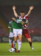 14 August 2020; Cian Coleman of Cork City in action against David Cawley of Sligo Rovers during the SSE Airtricity League Premier Division match between Cork City and Sligo Rovers at Turners Cross in Cork. Photo by Seb Daly/Sportsfile