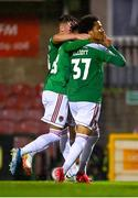 14 August 2020; Kit Elliot of Cork City, right, celebrates with team-mates after scoring his side's second goal during the SSE Airtricity League Premier Division match between Cork City and Sligo Rovers at Turners Cross in Cork. Photo by Seb Daly/Sportsfile