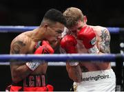 14 August 2020; Eric Donovan, right, in action against Zelfa Barrett during their IBF Inter-Continental Super Feather Title bout at the Matchroom Fight Camp in Brentwood, England. Photo by Mark Robinson / Matchroom Boxing via Sportsfile