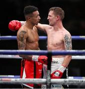 14 August 2020; Eric Donovan, right, and Zelfa Barrett following their IBF Inter-Continental Super Feather Title bout at the Matchroom Fight Camp in Brentwood, England. Photo by Mark Robinson / Matchroom Boxing via Sportsfile