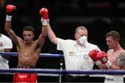 14 August 2020; Zelfa Barrett, left, after defeating Eric Donovan in their IBF Inter-Continental Super Feather Title bout at the Matchroom Fight Camp in Brentwood, England. Photo by Mark Robinson / Matchroom Boxing via Sportsfile