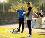 14 August 2020; Waterford manager John Sheridan and Dundalk manager Vinny Perth, right, during the SSE Airtricity League Premier Division match between Dundalk and Waterford at Oriel Park in Dundalk, Louth. Photo by Stephen McCarthy/Sportsfile