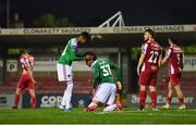 14 August 2020; Kit Elliott of Cork City, right, is congratulated by team-mate Ricardo Dinanga after winning a penalty for their side in the second half during the SSE Airtricity League Premier Division match between Cork City and Sligo Rovers at Turners Cross in Cork. Photo by Seb Daly/Sportsfile
