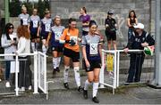 15 August 2020; Keara Cormican of Galway WFC leads out her team ahead of the Women's National League match between Bohemians and Galway WFC at Oscar Traynor Centre in Dublin. Photo by Sam Barnes/Sportsfile