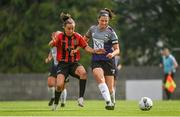 15 August 2020; Keara Cormican of Galway WFC in action against Bronagh Kane of Bohemians during the Women's National League match between Bohemians and Galway WFC at Oscar Traynor Centre in Dublin. Photo by Sam Barnes/Sportsfile