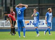 15 August 2020; Rafael Cretaro, centre, and Shane McEleney, left, of Finn Harps reacts after a decision goes against their side during the SSE Airtricity League Premier Division match between Finn Harps and Bohemians at Finn Park in Ballybofey, Donegal. Photo by Seb Daly/Sportsfile