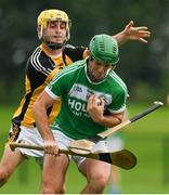 15 August 2020; Padraig Mullen of Danesfort loses his hurley tackling Eoin Cody of Ballyhale Shamrocks during the Kilkenny County Senior Hurling League Group A Round 3 match between Ballyhale Shamrocks and Danesfort at John Locke Park in Callan, Kilkenny. Photo by Brendan Moran/Sportsfile