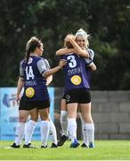 15 August 2020; Ellie O'Flaherty of Galway WFC, right, celebrates with team-mates, including Shauna Brennan, after scoring her side's third goal during the Women's National League match between Bohemians and Galway WFC at Oscar Traynor Centre in Dublin. Photo by Sam Barnes/Sportsfile