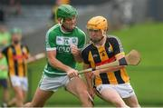 15 August 2020; Diarmuid Phelan of Danesfort is challenged by Eoin Cody of Ballyhale Shamrocks during the Kilkenny County Senior Hurling League Group A Round 3 match between Ballyhale Shamrocks and Danesfort at John Locke Park in Callan, Kilkenny. Photo by Brendan Moran/Sportsfile