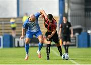 15 August 2020; Danny Mandroiu of Bohemians in action against Mark Coyle of Finn Harps during the SSE Airtricity League Premier Division match between Finn Harps and Bohemians at Finn Park in Ballybofey, Donegal. Photo by Seb Daly/Sportsfile