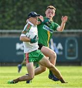 15 August 2020; Ballymun Kickhams goalkeeper Evan Comerford in action against Conor Guilfoyle of Thomas Davis during the Dublin County Senior 1 Football Championship Group 1 Round 3 match between Ballymun Kickhams and Thomas Davis at Parnell Park in Dublin. Photo by Ramsey Cardy/Sportsfile