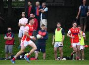 15 August 2020; Injured Cuala player Con O'Callaghan looks on during the Dublin County Senior 2 Football Championship Group 2 Round 3 match between Cuala and Parnells at Hyde Park in Glenageary, Dublin. Photo by Piaras Ó Mídheach/Sportsfile