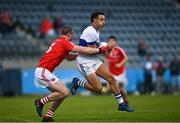 15 August 2020; Shane Carthy of St Vincent's in action against Conor Doran of Clontarf during the Dublin County Senior 1 Football Championship Group 3 Round 3 match between Clontarf and St. Vincent's at Parnell Park in Dublin. Photo by Ramsey Cardy/Sportsfile