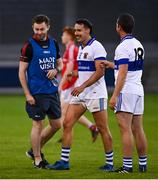 15 August 2020; Jack McCaffrey of Clontarf with Shane Carthy, centre, and Ger Brennan of St Vincent's following the Dublin County Senior 1 Football Championship Group 3 Round 3 match between Clontarf and St. Vincent's at Parnell Park in Dublin. Photo by Ramsey Cardy/Sportsfile
