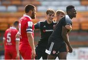 15 August 2020; Ibrahim Meite is congratulated by Derry City team-mate Stephen Mallon, left, after scoring their side's goal during the SSE Airtricity League Premier Division match between Shelbourne and Derry City at Tolka Park in Dublin. Photo by Stephen McCarthy/Sportsfile