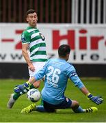 16 August 2020; Aaron Greene of Shamrock Rovers has a shot on goal on St Patrick's Athletic goalkeeper Brendan Clarke during the SSE Airtricity League Premier Division match between St Patrick's Athletic and Shamrock Rovers at Richmond Park in Dublin. Photo by Stephen McCarthy/Sportsfile