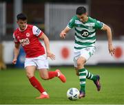 16 August 2020; Neil Farrugia of Shamrock Rovers in action against Dan Ward of St Patrick's Athletic during the SSE Airtricity League Premier Division match between St Patrick's Athletic and Shamrock Rovers at Richmond Park in Dublin. Photo by Stephen McCarthy/Sportsfile