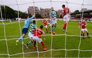16 August 2020; St Patrick's Athletic goalkeeper Brendan Clarke comes to punch a cross during the SSE Airtricity League Premier Division match between St Patrick's Athletic and Shamrock Rovers at Richmond Park in Dublin. Photo by Stephen McCarthy/Sportsfile