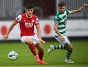 16 August 2020; Dan Ward of St Patrick's Athletic in action against Jack Byrne of Shamrock Rovers during the SSE Airtricity League Premier Division match between St Patrick's Athletic and Shamrock Rovers at Richmond Park in Dublin. Photo by Stephen McCarthy/Sportsfile