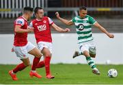 16 August 2020; Graham Burke of Shamrock Rovers in action against Robbie Benson and Dan Ward, left, of St Patrick's Athletic during the SSE Airtricity League Premier Division match between St Patrick's Athletic and Shamrock Rovers at Richmond Park in Dublin. Photo by Stephen McCarthy/Sportsfile