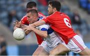 15 August 2020; Greg Murphy of St Vincent's is tackled by Chris Barrett of Clontarf during the Dublin County Senior 1 Football Championship Group 3 Round 3 match between Clontarf and St. Vincent's at Parnell Park in Dublin. Photo by Ramsey Cardy/Sportsfile