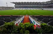 16 August 2020; The players' tunnel at 3.02pm as the teams would have made their way onto the pitch at Croke Park Stadium on the original scheduled date of the 2020 GAA Hurling All-Ireland Senior Championship Final. Due to current restrictions laid down by the Irish government to prevent the spread of coronavirus, the dates for the staging of the GAA inter-county season have been pushed back, with the first round of games now due to start in October. The 2020 All-Ireland Senior Hurling Championship was due to be the 133rd staging of the All-Ireland Senior Hurling Championship, the Gaelic Athletic Association's premier inter-county hurling tournament, since its establishment in 1887. For the first time in 96 years the All-Ireland hurling final is now due to be played in December with the 2020 final due on Sunday, December 13th, the same weekend on which Dublin beat Galway in the 1924 final. Photo by Brendan Moran/Sportsfile