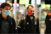 18 August 2020; Stefan Colovic, right, and Josh Gatt after checking in at Dublin Airport as the Dundalk squad depart for their UEFA Champions League First Qualifying Round match against NK Celja in Budapest, Hungary. Photo by Stephen McCarthy/Sportsfile