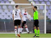 19 August 2020; Sean Gannon of Dundalk receives a yellow card from referee Vitor Fernandes Ferreira during the UEFA Champions League First Qualifying Round match between NK Celja and Dundalk at Ferenc Szusza Stadion in Budapest, Hungary. Photo by Vid Ponikvar/Sportsfile