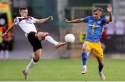 19 August 2020; Sean Gannon of Dundalk in action against Lan Stravs of NK Celja during the UEFA Champions League First Qualifying Round match between NK Celja and Dundalk at Ferenc Szusza Stadion in Budapest, Hungary. Photo by Vid Ponikvar/Sportsfile