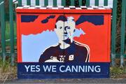 2 August 2020; A illustration of Galway hurler Joe Canning outside the ground before the Galway County Senior Football Championship Group 4A Round 1 match between Corofin and Oughterard at Pearse Stadium in Galway. GAA matches continue to take place in front of a limited number of people due to the ongoing Coronavirus restrictions. Photo by Piaras Ó Mídheach/Sportsfile
