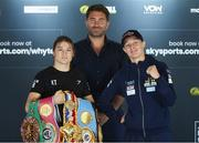 20 August 2020; Katie Taylor, left, and Delfine Persoon pose with promoter Eddie Hearn during the Final Press Conference at Matchroom Fight Camp in Brentwood, Essex, England, in advance of their Undisputed Lightweight Titles fight on Saturday night. Photo by Mark Robinson / Matchroom Boxing via Sportsfile