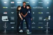 20 August 2020; Katie Taylor, left, and Delfine Persoon with promoter Eddie Hearn during the Final Press Conference at Matchroom Fight Camp in Brentwood, Essex, England, in advance of their Undisputed Lightweight Titles fight on Saturday night. Photo by Mark Robinson / Matchroom Boxing via Sportsfile
