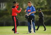 20 August 2020; Jack Tector of Munster Reds, left, and Kevin O'Brien of Leinster Lightning following the 2020 Test Triangle Inter-Provincial Series match between Leinster Lightning and Munster Reds at Pembroke Cricket Club in Dublin. Photo by Seb Daly/Sportsfile