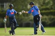20 August 2020; Tyrone Kane, left, and Kevin O'Brien of Leinster Lightning congratulate each other following their side's victory during the 2020 Test Triangle Inter-Provincial Series match between Leinster Lightning and Munster Reds at Pembroke Cricket Club in Dublin. Photo by Seb Daly/Sportsfile