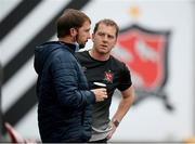 11 August 2020; Dundalk manager Vinny Perth and Mark Burton, left, prior to the Extra.ie FAI Cup First Round match between Dundalk and Waterford FC at Oriel Park in Dundalk, Louth. Photo by Stephen McCarthy/Sportsfile