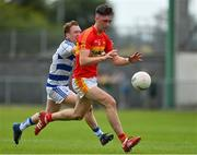 9 August 2020; Conor Stenson of Castlebar Mitchels in action against Tommy O'Reilly of Breaffy during the Mayo County Senior Football Championship Group 1 Round 3 match between Castlebar Mitchels and Breaffy at Páirc Josie Munnelly in Castlebar, Mayo. Photo by Brendan Moran/Sportsfile