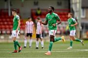 21 August 2020; Joseph Olowu of Cork City celebrates after scoring his side's first goal during the SSE Airtricity League Premier Division match between Derry City and Cork City at the Ryan McBride Brandywell Stadium in Derry. Photo by Seb Daly/Sportsfile