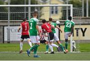 21 August 2020; Joseph Olowu of Cork City, right, shoots to score his side's first goal during the SSE Airtricity League Premier Division match between Derry City and Cork City at the Ryan McBride Brandywell Stadium in Derry. Photo by Seb Daly/Sportsfile