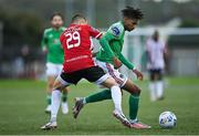 21 August 2020; Ricardo Dinanga of Cork City in action against Jack Malone of Derry City during the SSE Airtricity League Premier Division match between Derry City and Cork City at the Ryan McBride Brandywell Stadium in Derry. Photo by Seb Daly/Sportsfile