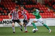 21 August 2020; Ricardo Dinanga of Cork City in action against Ciarán Coll, left, and Darren Cole during the SSE Airtricity League Premier Division match between Derry City and Cork City at the Ryan McBride Brandywell Stadium in Derry. Photo by Seb Daly/Sportsfile
