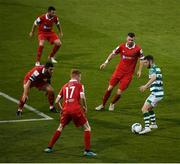 21 August 2020; Jack Byrne of Shamrock Rovers in action against Shelbourne players, from left, Gary Deegan, Ryan Brennan, top, Shane Farrell, 17, and Ciarán Kilduff during the SSE Airtricity League Premier Division match between Shamrock Rovers and Shelbourne at Tallaght Stadium in Dublin. Photo by Stephen McCarthy/Sportsfile